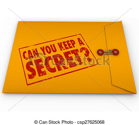 Stock Illustration of Can You Keep a Secret Yellow Envelope Stamp.