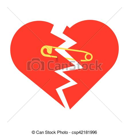 Vector Clip Art of Safety Pins to Keep a Broken Heart Together.