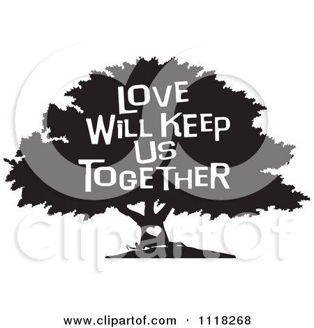 Cartoon Of A Black And White Family Tree With A Heart And Love.