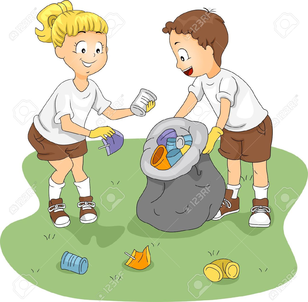Clipart kids cleaning together.