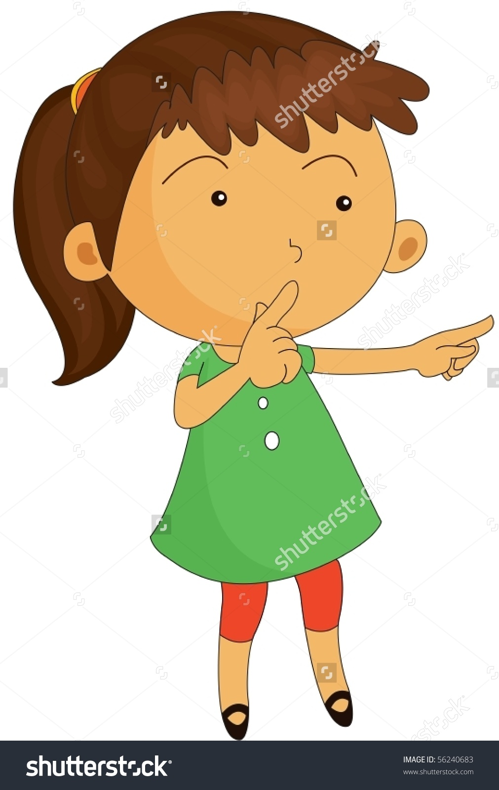 Illustration Of A Girl Keeping Silence On White Background.