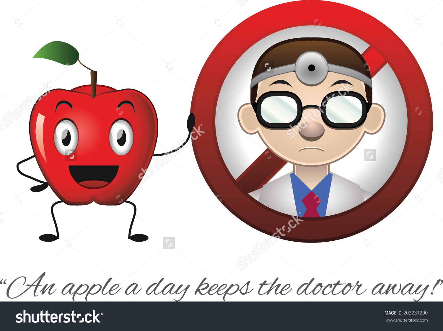 Funny Illustration Phrase Apple Day Keeps Stock Vector 203231200.