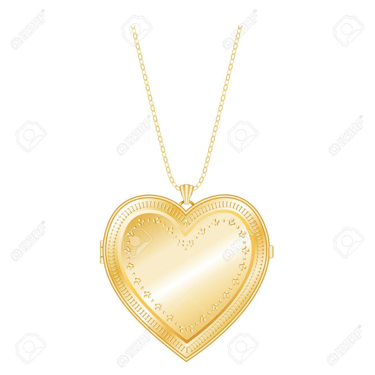 Vintage Keepsake Gold Heart Locket, Chain Necklace, Isolate.