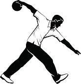 Clip Art of Boy throwing stars from bowl, k11105867.