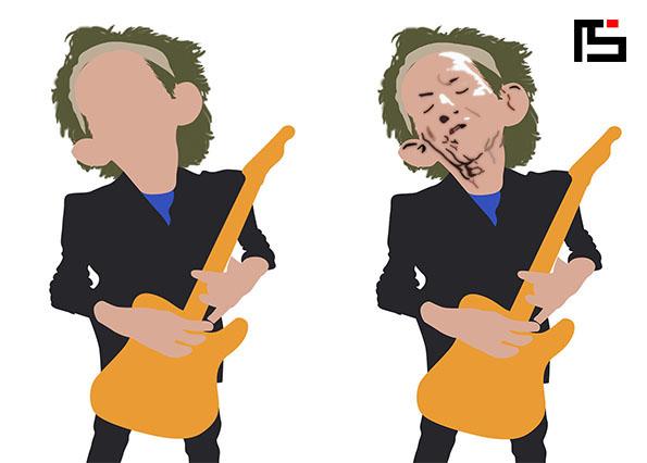 Pintura digital e caricatura de Keith Richards on Behance.