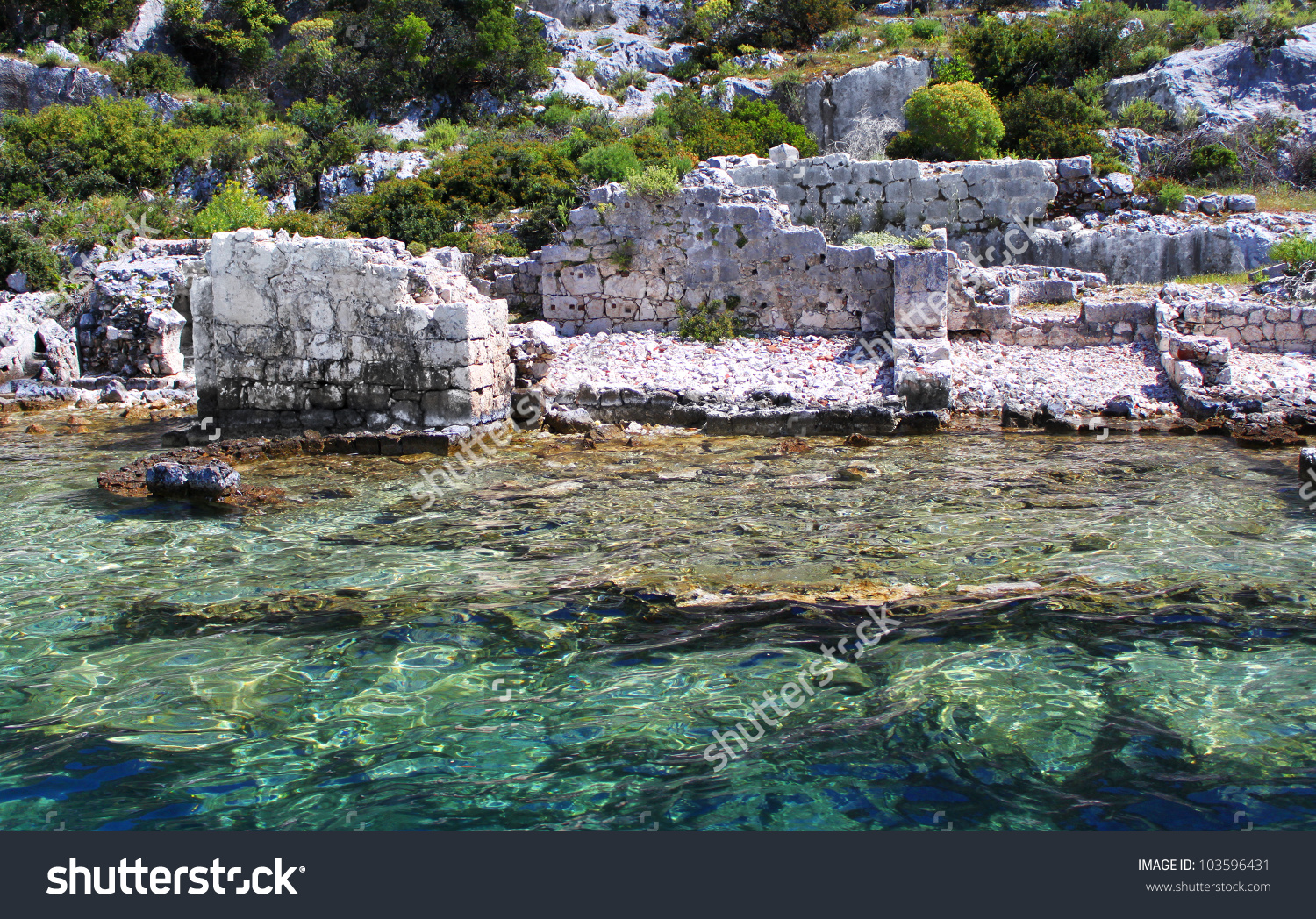 Sunken Lycian City On The Kekova Island, Turkey Stock Photo.