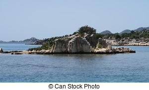 Stock Image of Kekova Island and the Ruins of the Sunken City.