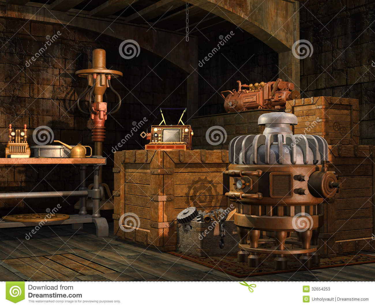 Steamunk Barrels And Crates Stock Images.