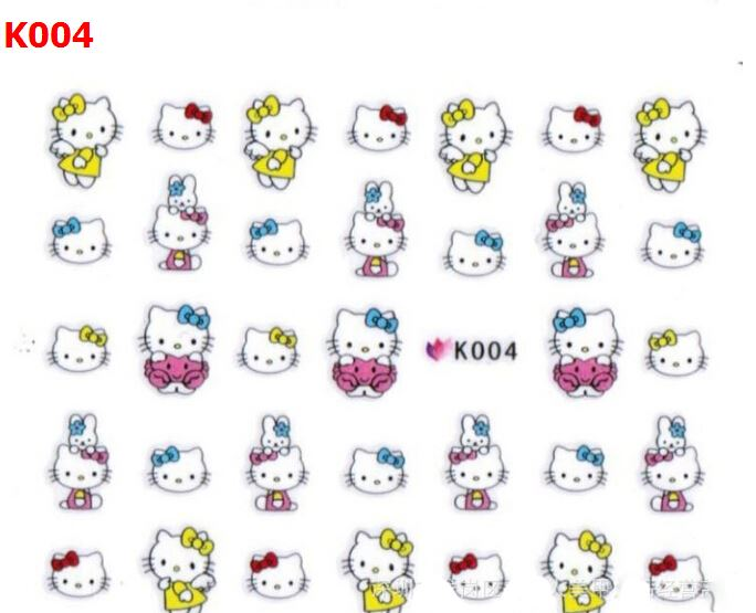 Fashion Lovely Cute kello kitty Cat DIY Water Transfer Nail Art.