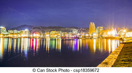 Picture of Lights of the City of Kelowna at Night csp18359672.