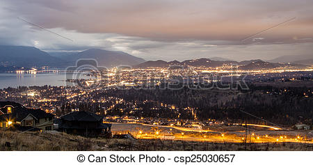 Stock Images of Overlooking Kelowna, Scenic Mountaintop View.