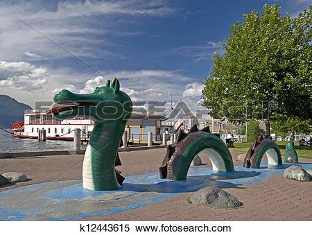 Stock Image of Ogopogo, Okanagan Lake monster in Kelowna, BC.