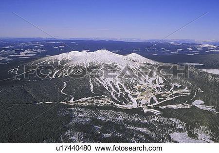 Stock Photography of Big White Ski Resort, aerial of village. 56.