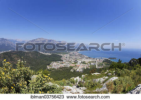 "Stock Photo of ""View from Mt. Calistepe over Kemer with Taurus."
