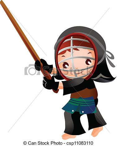Vector Clip Art of portrait of a girl in kendo fencer csp11083110.