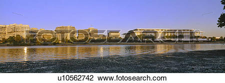 Stock Photo of Kennedy Center and Watergate Hotel across Potomac.