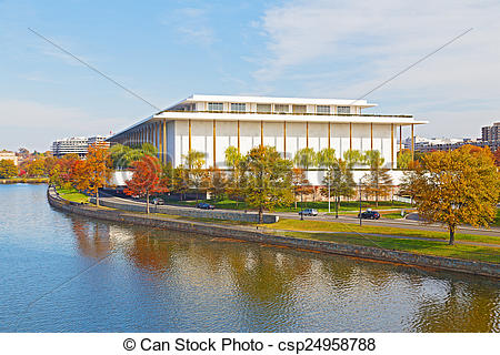 Pictures of Kennedy Performing Arts Center in autumn, Washington.