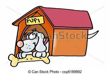 Clip Art of dog in a kennel, with bone csp6189892.
