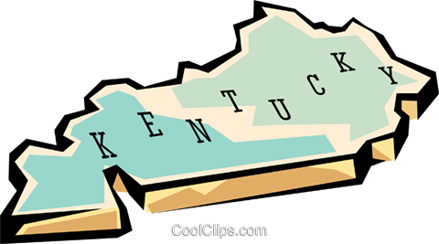Kentucky state map Royalty Free Vector Clip Art illustration.