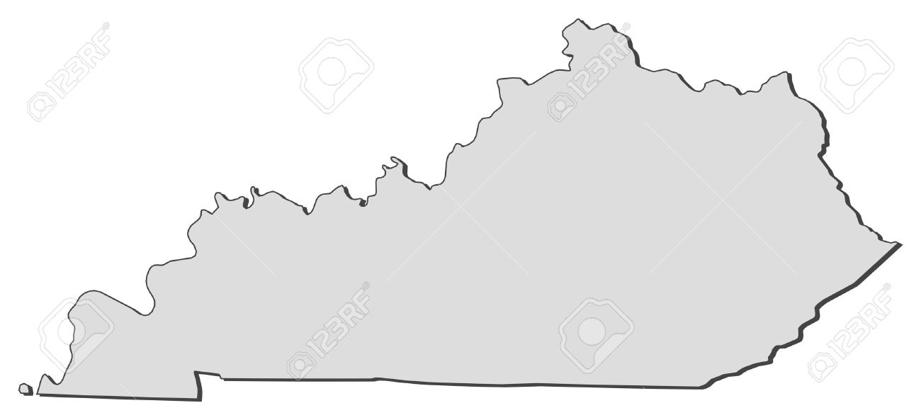 Map Of Kentucky, A State Of United States. Royalty Free Cliparts.