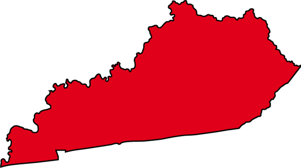 Kentucky State Map with cities.