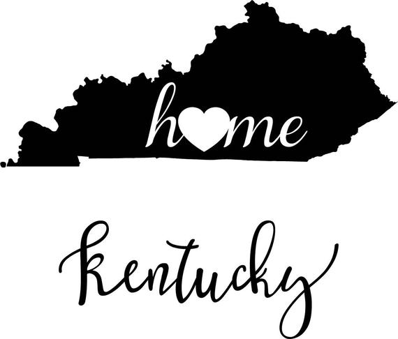 Kentucky State Map digital file: SVG PNG Jpg eps Vector Graphic Clip Art KY  Outline Kentucky home state.