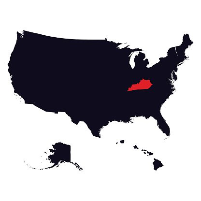 Kentucky State in the United States map Clipart Image.