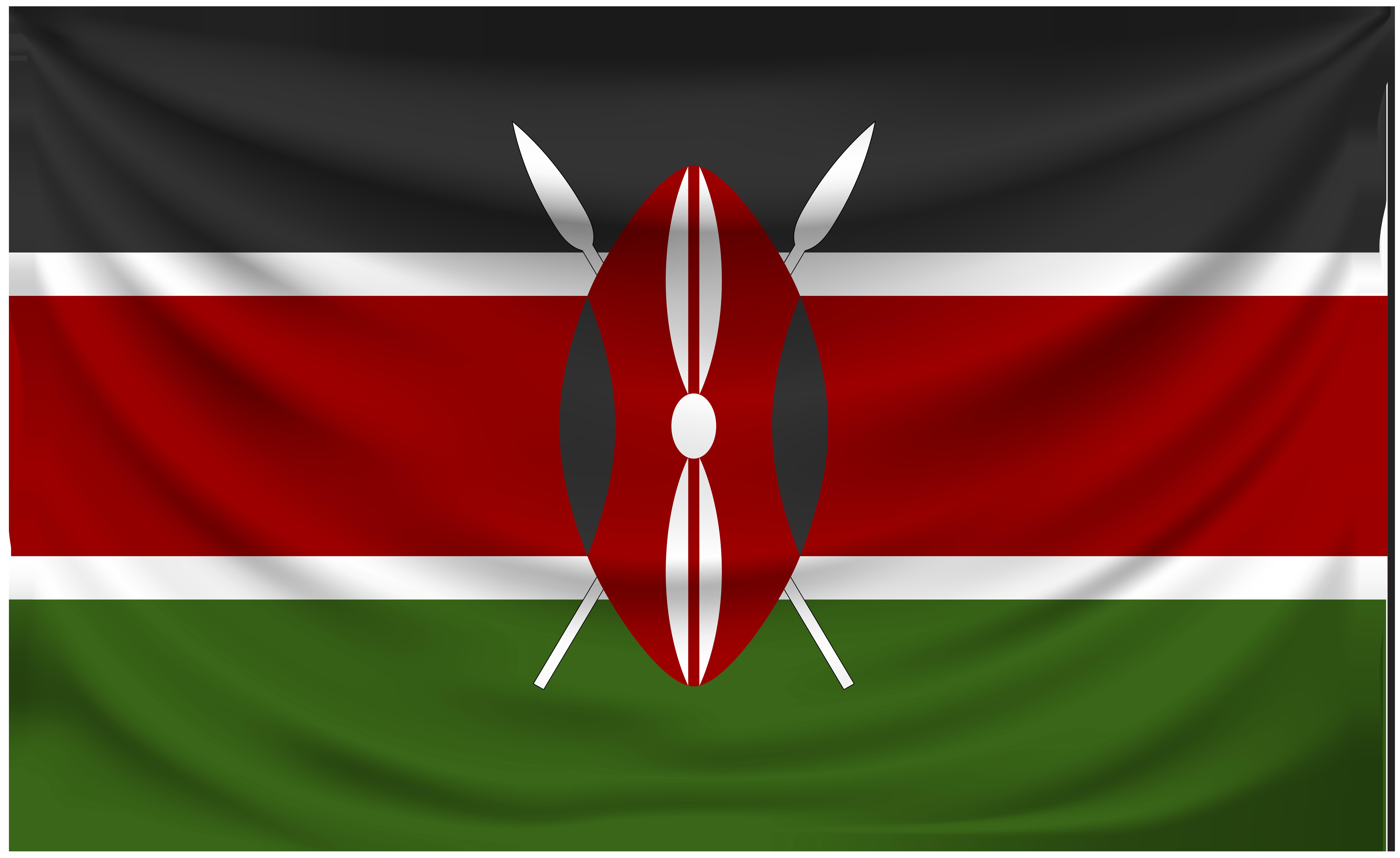 Kenya Wrinkled Flag.
