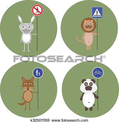 Clip Art of Animals kept signs of traffic rules k32507059.