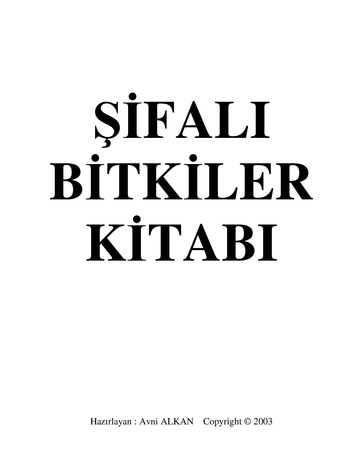 Şifalı Bitkiler Kitabı.