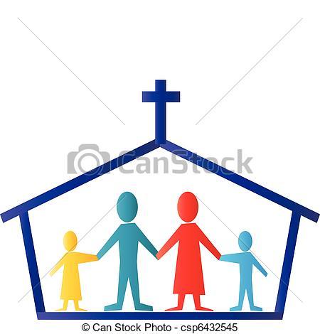 Clipart Vector van logo, Vector, gezin, kerk.