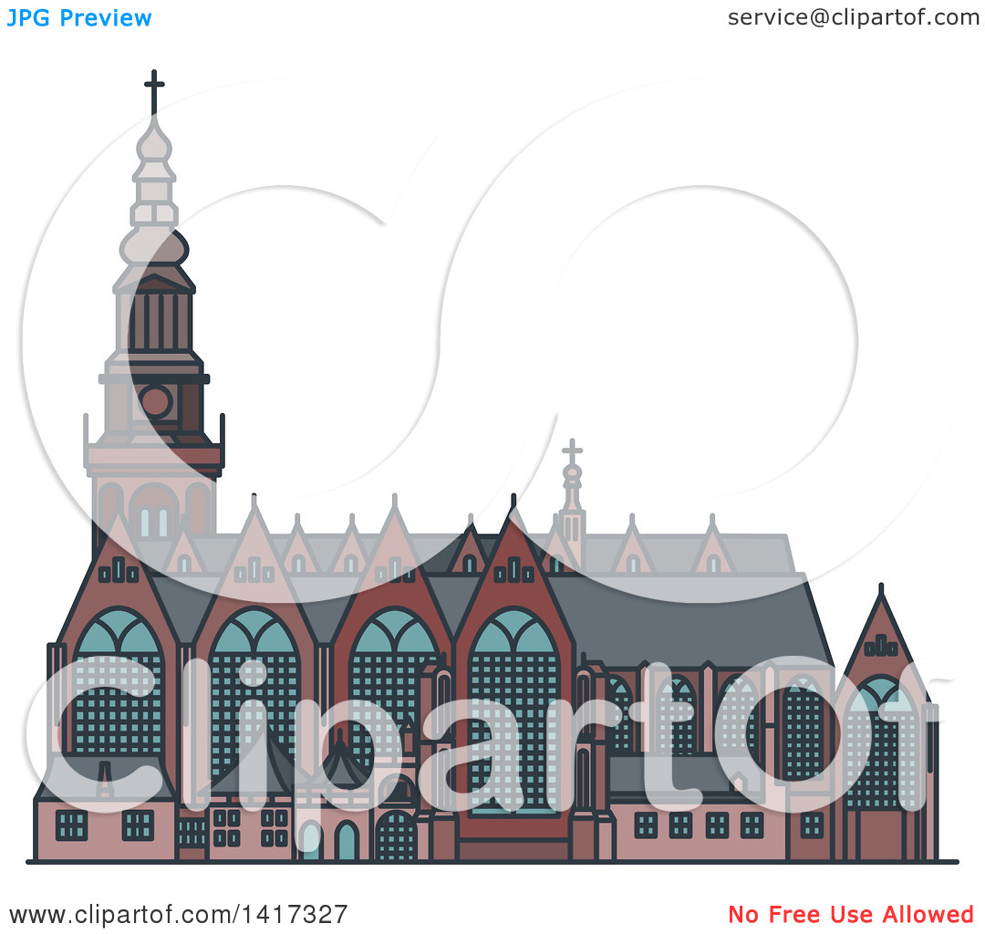 Clipart of a Dutch Landmark, Oude Kerk Church.