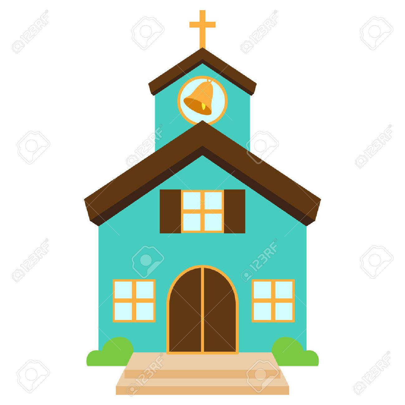 Vector Illustratie Van Een Cute Kerk Of Kapel Royalty Vrije.