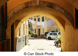 Stock Image of Old medieval city of Corfu at Greece house hone.