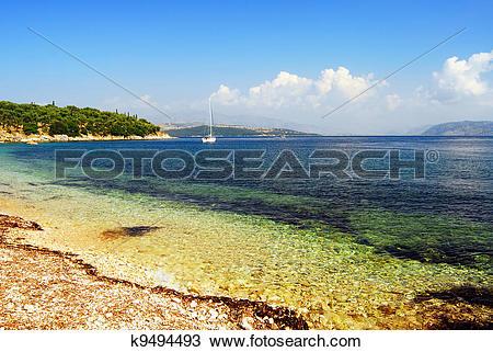 Stock Photo of Kerkira, Corf?, Greek, Beach k9494493.