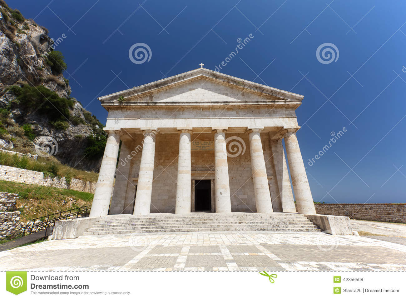 Ancient Hellenic Temple In Kerkira Royalty Free Stock Photography.