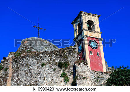 Stock Photography of English tower Inside old fortress, Kerkyra.