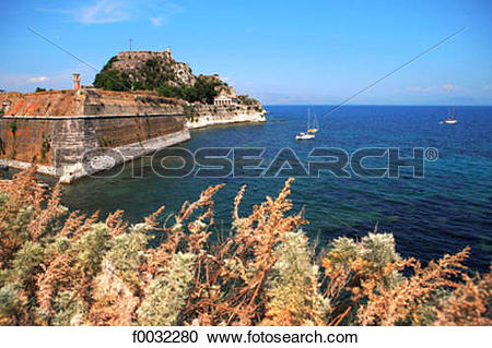 Stock Photography of Greece, ionian islands, Corfu, citadel of.