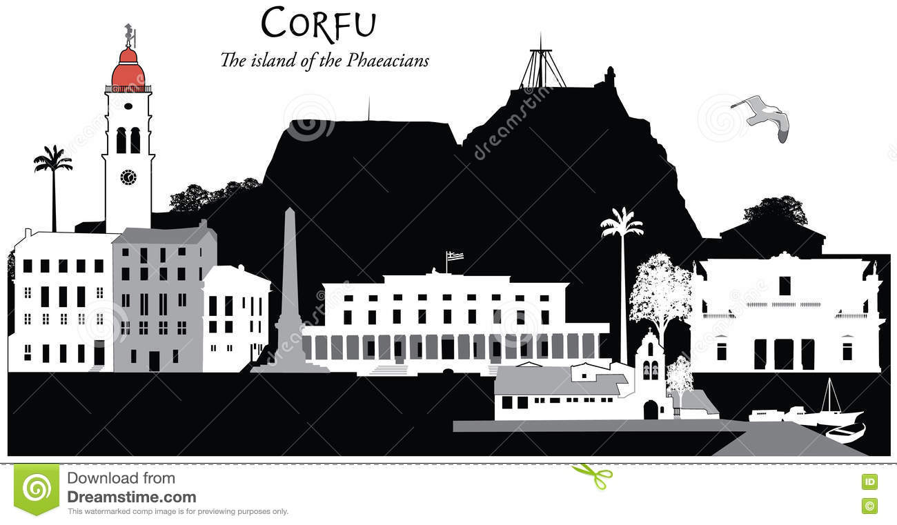 Corfu Stock Illustrations.