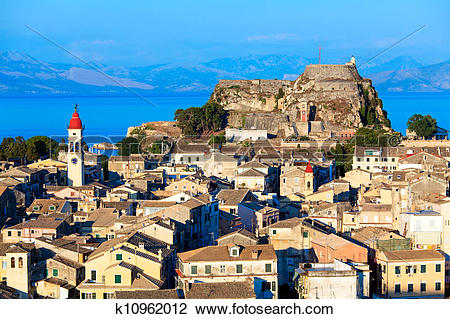 Stock Photo of Aerial view from New fortress Kerkyra, Corfu island.