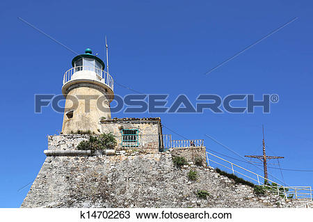 Stock Photo of Lighthouse Old Fort Kerkyra Corfu k14702263.