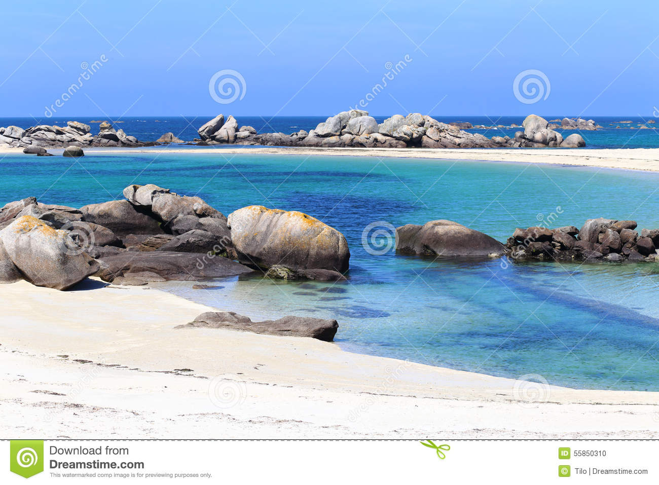 Boulders And Beach At Kerlouan, Brittany, France Stock Photo.