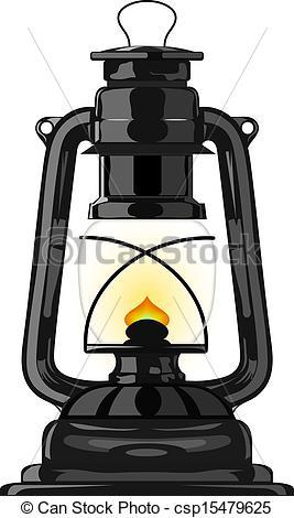 Vector Illustration of Old kerosene lamp. eps10 csp15479625.