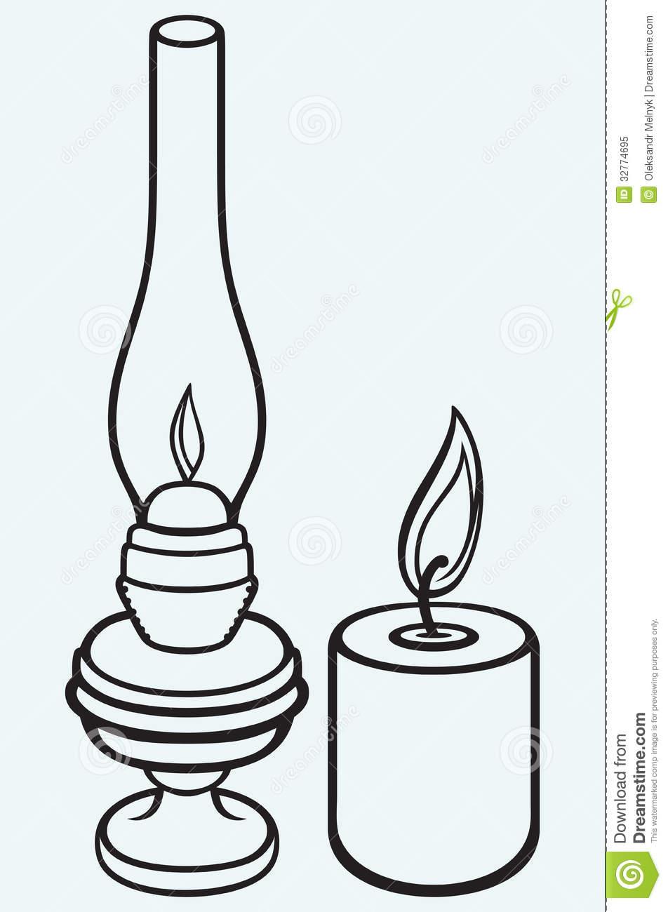 Kerosene Lamp And Candle Royalty Free Stock Photo.
