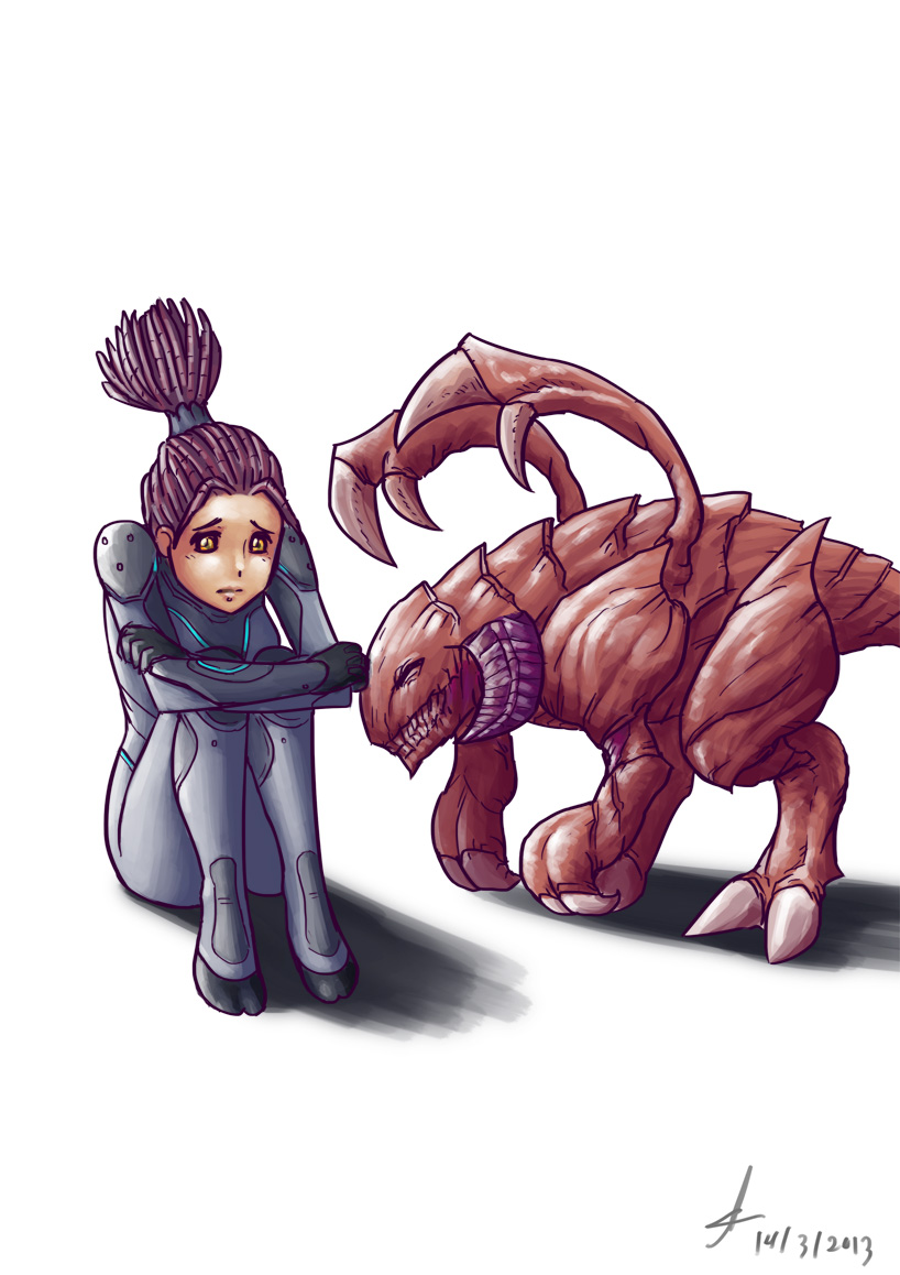 Kerrigan and Zergling by Lutherniel on DeviantArt.