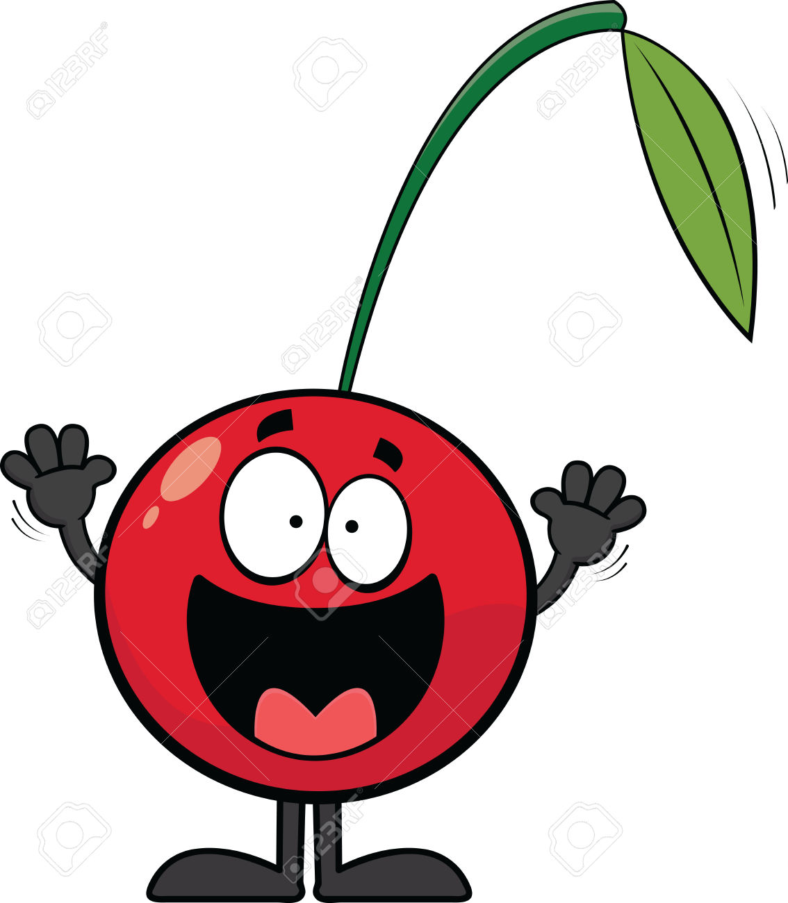 Cartoon Illustration Of A Happy Cherry With An Open Mouth Smile.