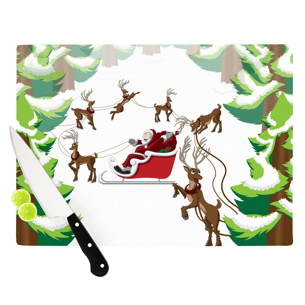 "KESS Original ""Forest Sleigh Scene"" Holiday Illustration Cutting."