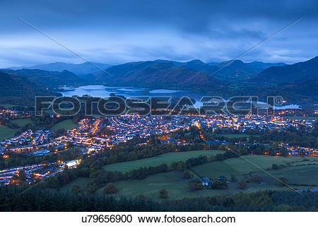 Stock Photography of England, Cumbria, Underskiddaw. Night view.