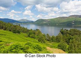 Stock Photo of View across lake to Keswick,UK.