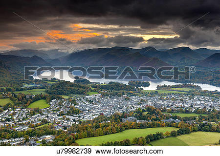 Stock Photograph of England, Cumbria, Underskiddaw. View over.